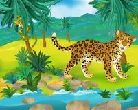 Kreskówki scena lampart - dzicy Africa zwierzęta - ilustracja wektor