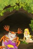 Kreskówki scena malutkiej młodej dziewczyny siedzący podziemny staranny pluskwa ilustracja wektor