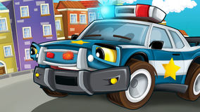 Kreskówki scena milicyjna pogoń - policjanta samochód Obraz Stock
