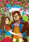 Kreskówki scena pary pozycja w ogródzie princess, niektóre ludzki królewiątko i książe - lub Zdjęcia Royalty Free
