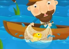 Kreskówki scena rybaka łapania ryba ilustracja wektor