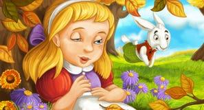 Kreskówki scena w lesie pod drzewem z młodą dziewczyną śpi up i budzi się ilustracja wektor