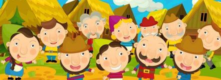 Kreskówki scena w starej wiosce tło dla różnego użycia - szczęśliwi wieśniacy całkowicie - royalty ilustracja