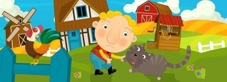 Kreskówki scena z chłopiec i kotem Obrazy Stock