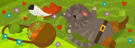 Kreskówki scena z chłopiec i kotem Obraz Stock