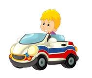 Kreskówki scena z dzieckiem - chłopiec w zabawkarskiej samochodowej karetce na białym tle Zdjęcie Stock