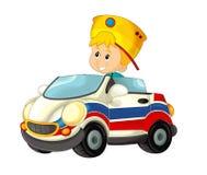Kreskówki scena z dzieckiem - chłopiec w zabawkarskiej samochodowej karetce na białym tle Obraz Royalty Free