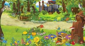 Kreskówki scena z grodowym i drzewnym domem w lesie dla bajek - książka lub gra - scena dla różnego użycia -
