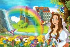 Kreskówki scena z piękną strumień tęczą, pałac w tło młodej dziewczyny pannie młodej i jest oglądająca i uśmiechnięta ilustracji
