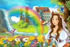 Kreskówki scena z piękną strumień tęczą, pałac w tło młodej dziewczyny pannie młodej i jest oglądająca i uśmiechnięta ilustracja wektor