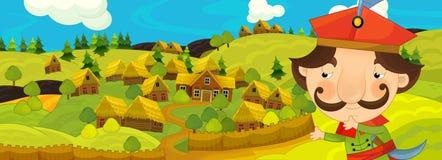 Kreskówki scena z rolnikiem blisko rolnej wioski Zdjęcie Royalty Free
