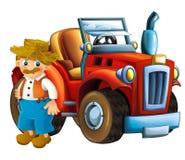 Kreskówki scena z rolnikiem i jego ciągnikiem - biały tło Obraz Stock