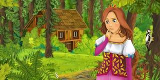 Kreskówki scena z szczęśliwą młodą dziewczyną spotyka chującego drewnianego dom w lesie Obrazy Stock