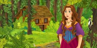 Kreskówki scena z szczęśliwą młodą dziewczyną spotyka chującego drewnianego dom w lesie Zdjęcie Royalty Free