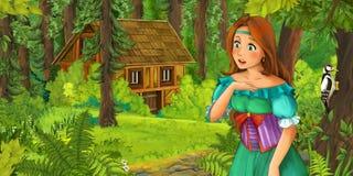Kreskówki scena z szczęśliwą młodą dziewczyną spotyka chującego drewnianego dom w lesie Obraz Stock