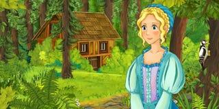 Kreskówki scena z szczęśliwą młodą dziewczyną spotyka chującego drewnianego dom w lesie Zdjęcie Stock