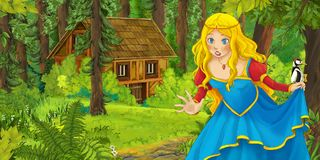 Kreskówki scena z szczęśliwą młodą dziewczyną spotyka chującego drewnianego dom w lesie Fotografia Stock