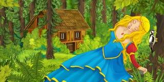 Kreskówki scena z szczęśliwą młodą dziewczyną spotyka chującego drewnianego dom w lesie Fotografia Royalty Free