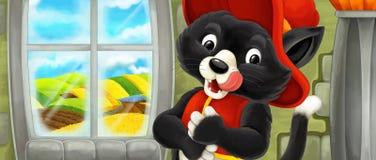 Kreskówki scena z szczęśliwym kotem patrzeje jak niektóre nobil - ilustracja dla dzieci ilustracja wektor