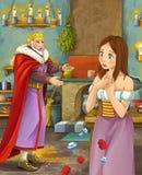 Kreskówki scena z szczęśliwym królewiątkiem opowiada piękna młoda dama w grodowej kuchni Obrazy Royalty Free