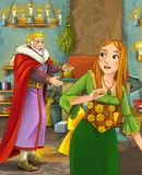 Kreskówki scena z szczęśliwym królewiątkiem opowiada piękna młoda dama w grodowej kuchni Obraz Royalty Free