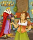 Kreskówki scena z szczęśliwym królewiątkiem opowiada piękna młoda dama w grodowej kuchni Fotografia Royalty Free