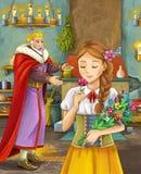 Kreskówki scena z szczęśliwym królewiątkiem opowiada piękna młoda dama w grodowej kuchni Fotografia Stock