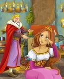 Kreskówki scena z szczęśliwym królewiątkiem opowiada piękna młoda dama w grodowej kuchni Obraz Stock