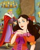 Kreskówki scena z szczęśliwym królewiątkiem opowiada piękna młoda dama w grodowej kuchni Zdjęcie Stock