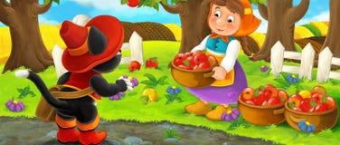 Kreskówki scena z szlachetnym kota podróżnikiem odwiedza rolnej kobiety w ogródzie podczas pięknego dnia Obrazy Stock