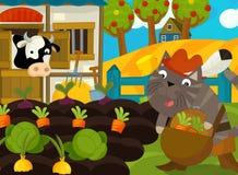 Kreskówki scena z ubierającym kotem na gospodarstwie rolnym Zdjęcia Stock