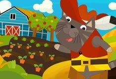 Kreskówki scena z ubierającym kotem na gospodarstwie rolnym Zdjęcia Royalty Free