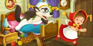 Kreskówki sceny dziewczyny bieg zdala od wilka w przebraniu Zdjęcia Stock