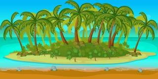 Kreskówki seascape Wektorowa ilustracja, Bezszwowy plaża krajobraz Zdjęcie Stock