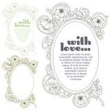 kreskówki serc biegunowy setu wektor Romantyczna etykietka z kwiatami Zdjęcia Royalty Free