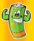 Szczęśliwa super silna kreskówki bateria Zdjęcia Stock