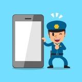 Kreskówki smartphone i policjant royalty ilustracja