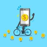 Kreskówki smartphone przejażdżek rower z monetami Fotografia Royalty Free