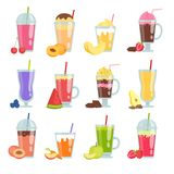 Kreskówki smoothie Różnorodny lato pije smoothie set ilustracja wektor