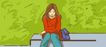 Kreskówki Smutna dziewczyna W parku Zdjęcie Royalty Free