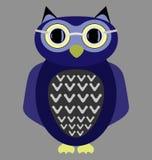 Kreskówki sowa jest ubranym szkła Zdjęcia Royalty Free