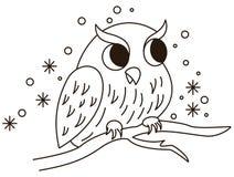 Kreskówki sowy obsiadanie na gałąź ilustracji