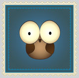 Kreskówki sowy znaczek pocztowy Fotografia Royalty Free