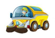 Kreskówki spłuczki śmiesznej przyglądającej ciężarówki uliczny czysty z pracownikiem na białym tle ilustracja wektor