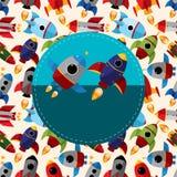 Kreskówki statek kosmiczny karta Obrazy Royalty Free