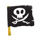 Kreskówki stylowego grunge pirata tradycyjna czarna flaga z białymi kordzikami i czaszką odizolowywał wektorową ilustrację na bie Fotografia Stock