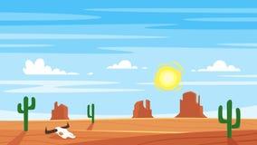 Kreskówki stylowy tło z gorącą zachód pustynią ilustracja wektor
