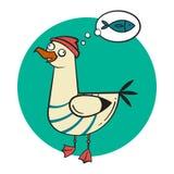 Kreskówki szalony uśmiechnięty seagull na zaokrąglonym tle ilustracja wektor