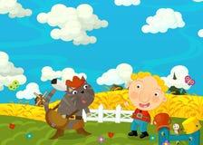 Kreskówki szczęśliwa, śmieszna scena z i - przyjaciele - Obraz Stock