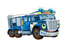 Kreskówki szczęśliwa i śmieszna policji ciężarówka uśmiechnięty pojazd na białym tle - odosobniona ciężarówka - ilustracji